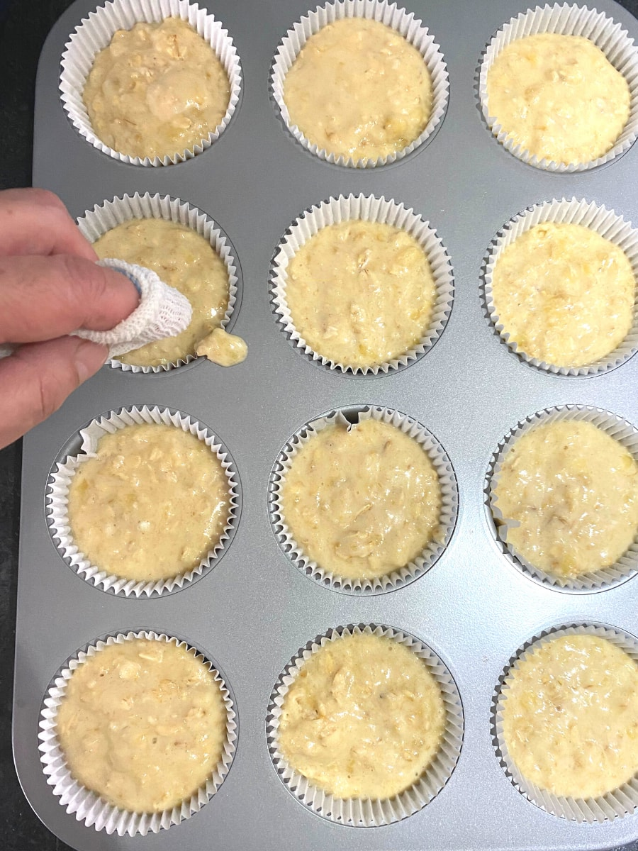 Banana Oatmeal Muffins, batter in muffin liners