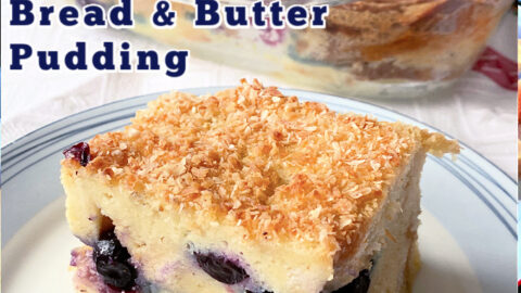 Blueberry and Coconut Bread and Butter Pudding. A luxurious version of a French Toast casserole, with a rich, creamy coconut egg custard and a generous sprinkling of fresh blueberries throughout. Delicious served warm fresh from the oven