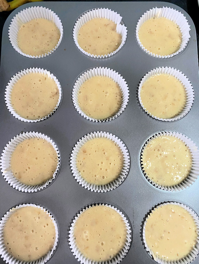 Muffin batter transferred to cases ready for the oven