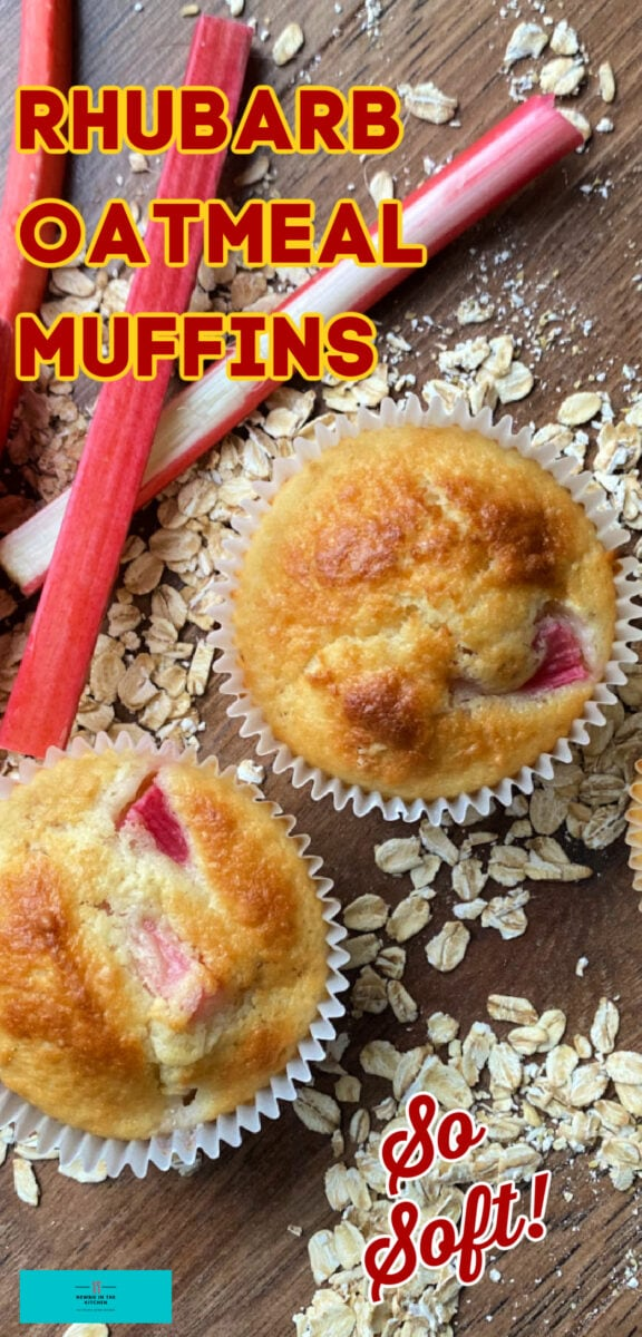 Rhubarb Oatmeal Muffins Recipe. A delicious breakfast or snack, these slightly sweet muffins are loaded with juicy tangy rhubarb, soft and fluffy, with added texture from the oats.