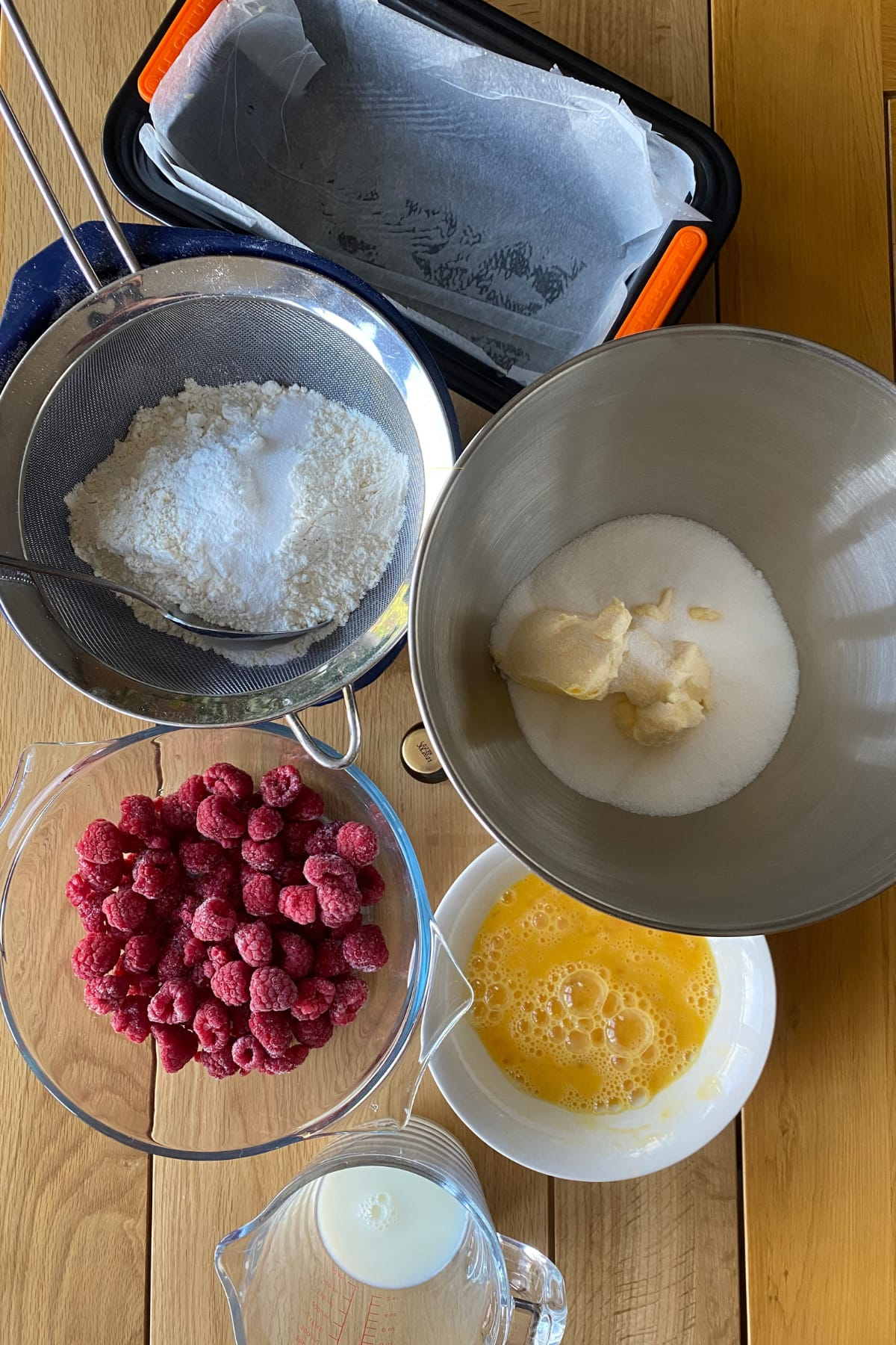 Simple Raspberry Pound Cake and White Chocolate Topping Ingredients ready