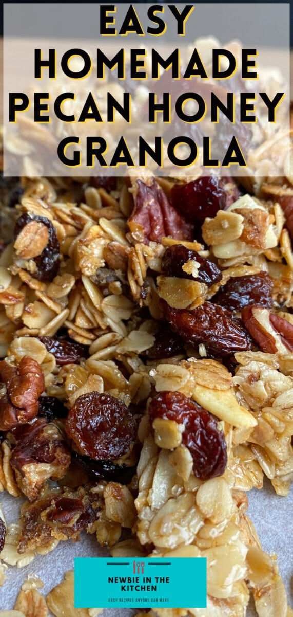 Easy Homemade Pecan Honey Granola. An easy recipe for how to make your own homemade granola. A mix of honey, nuts, and fruit make this a great start to your day. Delicious served for breakfast with yogurt and fresh fruit