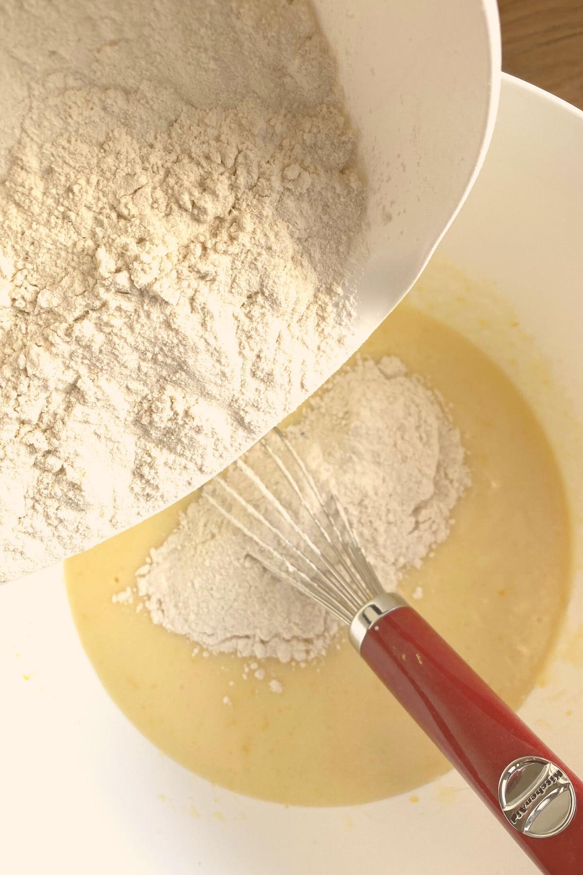 Easy Lemon French Yogurt Cake, adding flour
