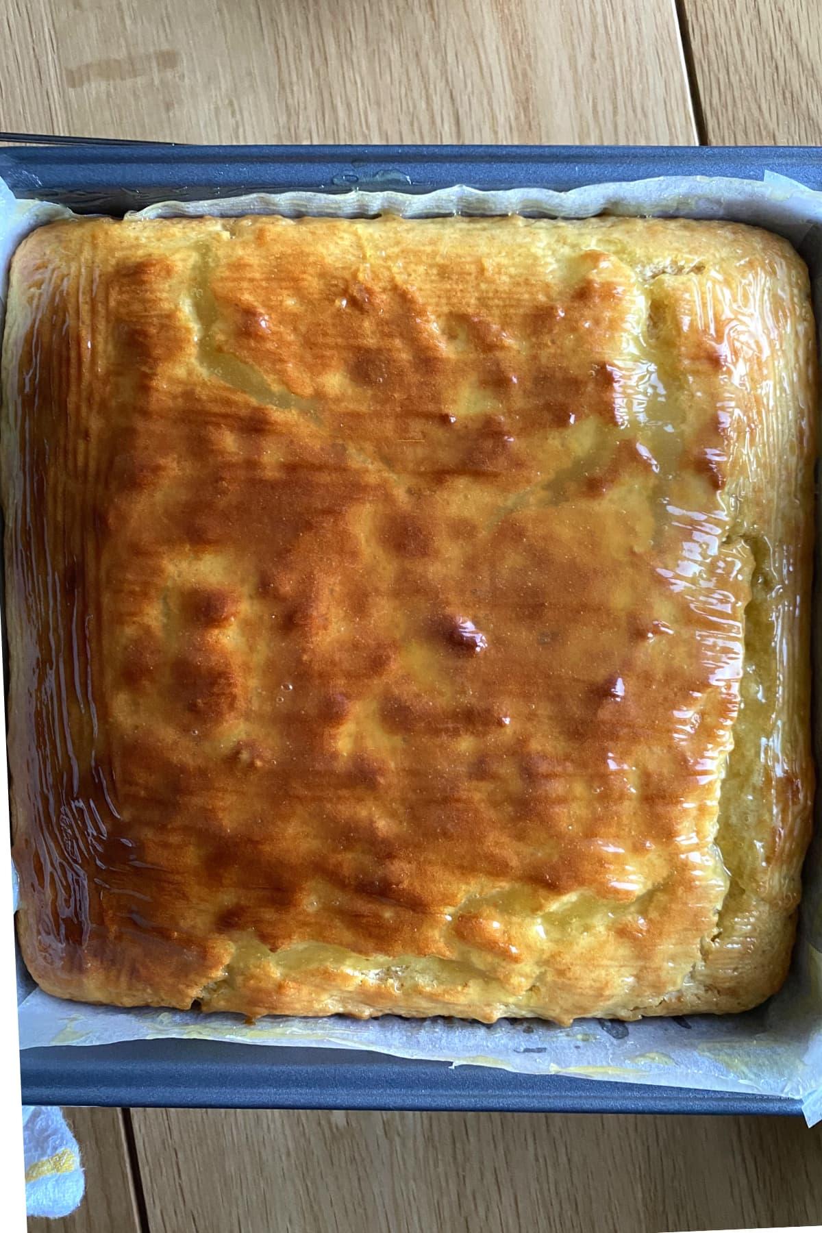 Easy Lemon French Yogurt Cake , cake resting in pan