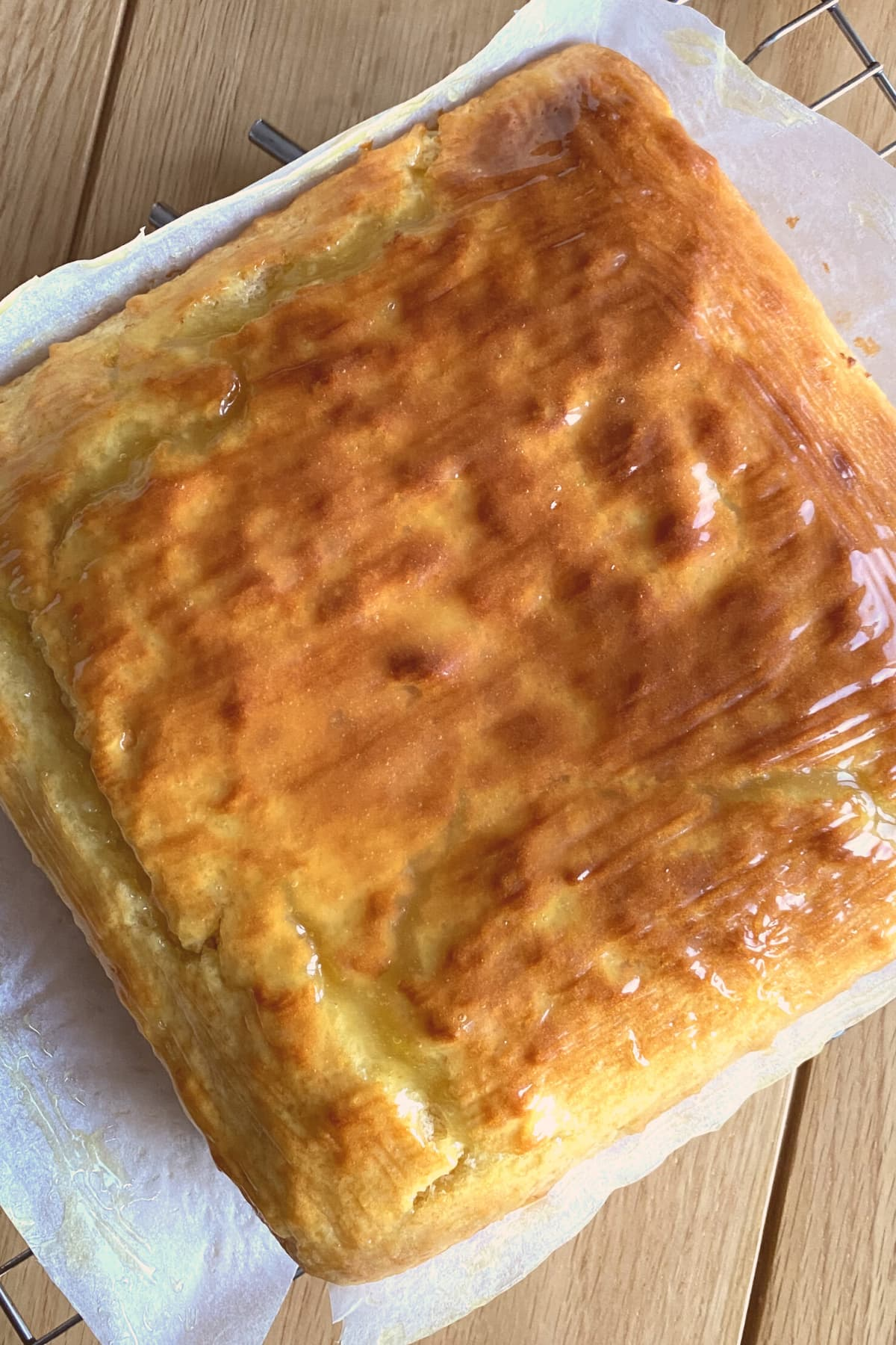 Easy Lemon French Yogurt Cake, on cooling rack