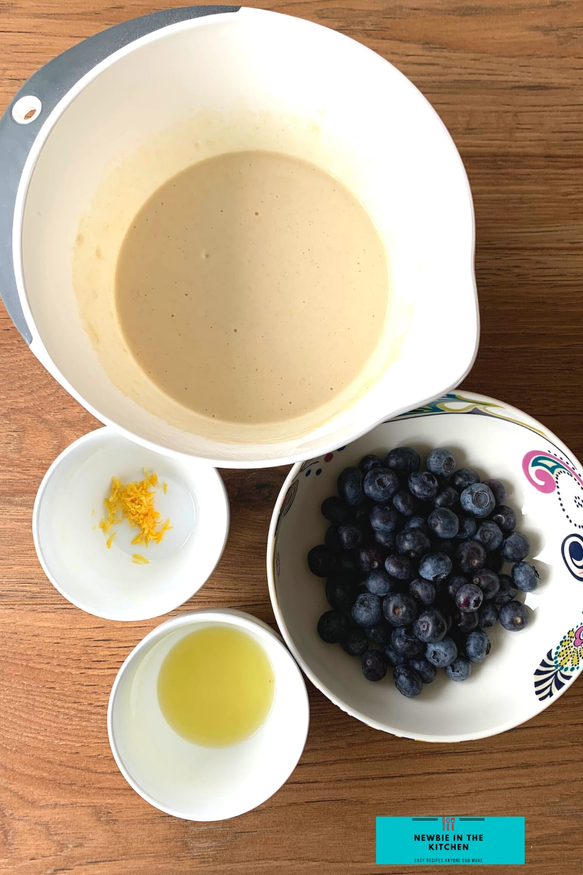 Fluffy Blueberry and Lemon Pancakes, ingredients ready