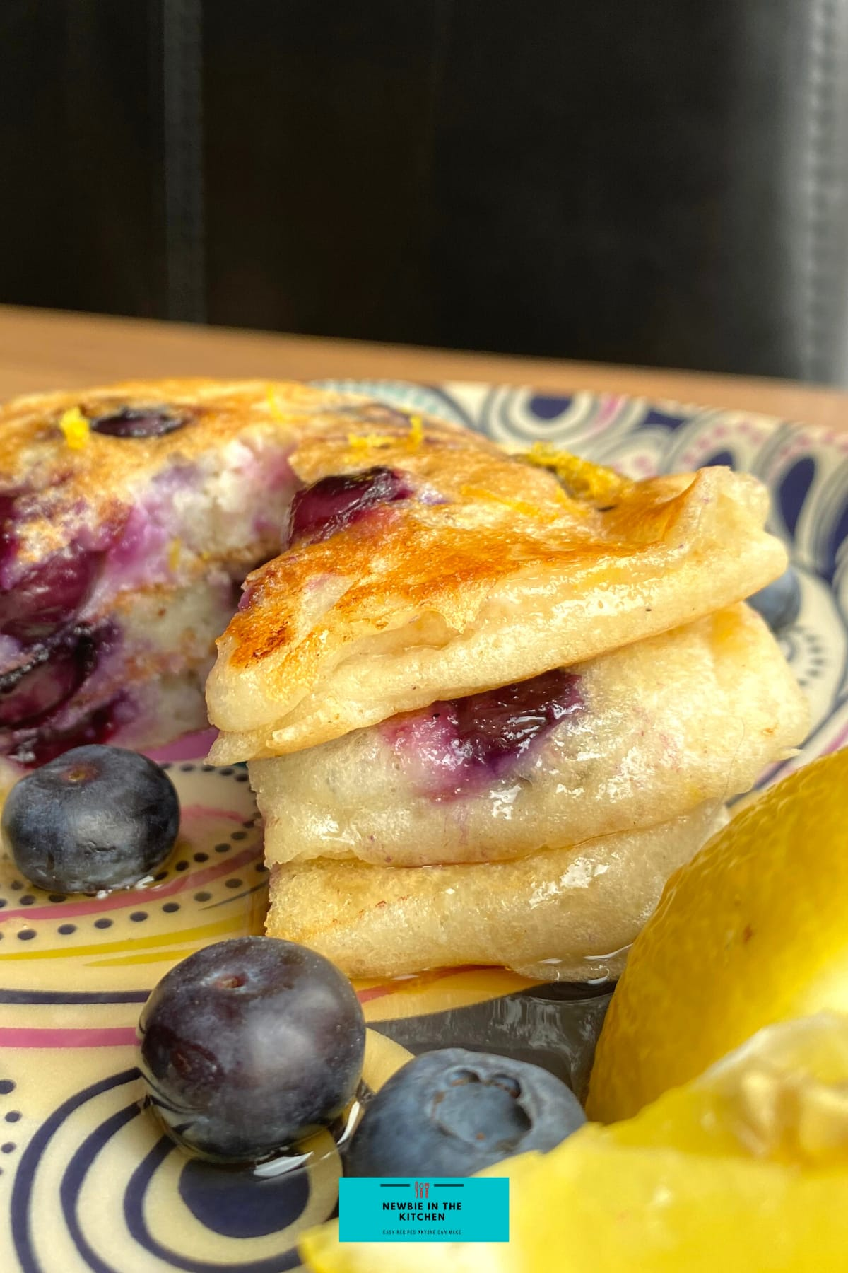 Fluffy Blueberry and Lemon Pancakes. Quick and easy made from scratch pancakes, bursting with juicy blueberries. Light and fluffy, delicious with a drizzle of maple syrup