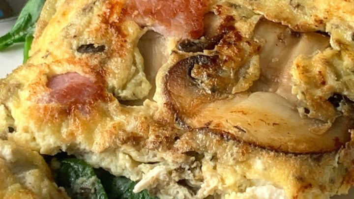 How To Make An Omelette. A simple easy recipe for how to make a basic French omelette. Loaded with bacon, cheese, mushrooms and spinach, this is a great all round breakfast, brunch or supper meal.