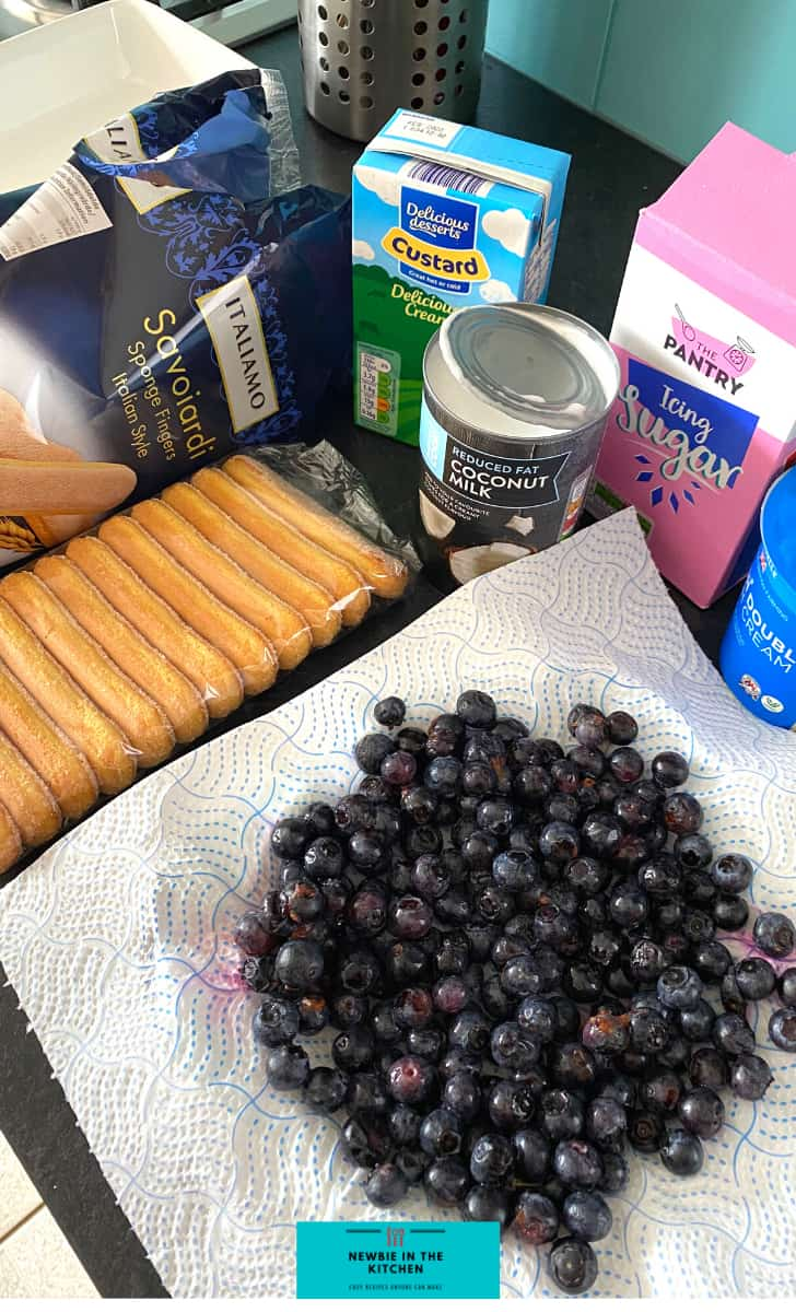 Dreamy Blueberry and Coconut Trifle, ingredients ready