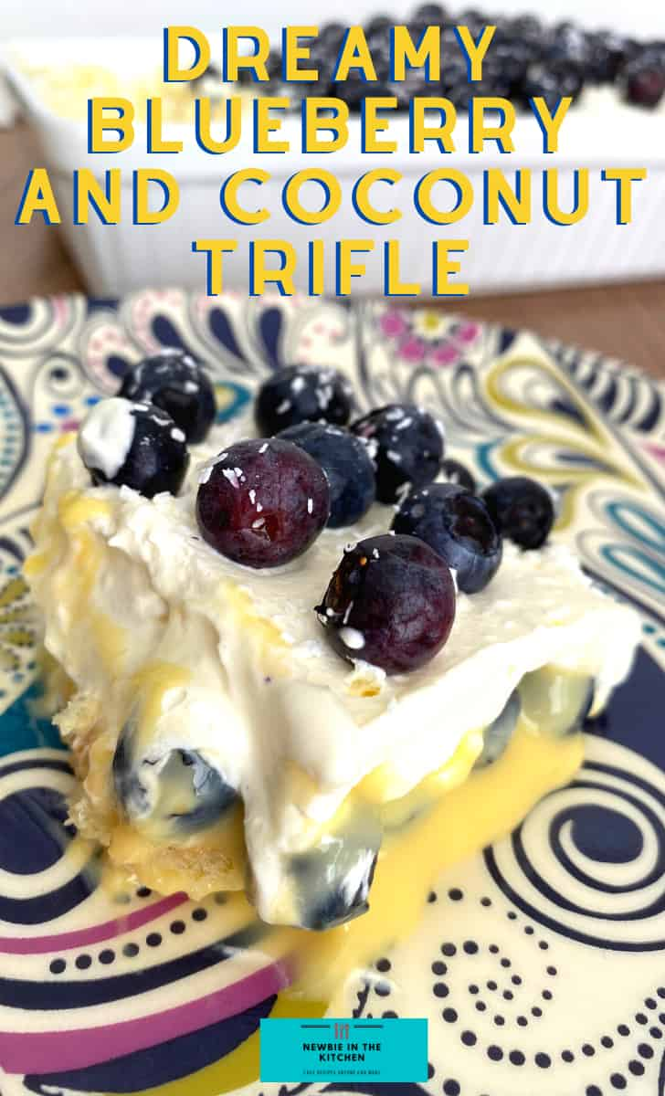 Dreamy Blueberry and Coconut Trifle. Layers of creamy smooth vanilla pudding layered between juicy blueberries on a bed of coconut infused lady's fingers and then covered with a wonderful dreamy whipped cream topping.