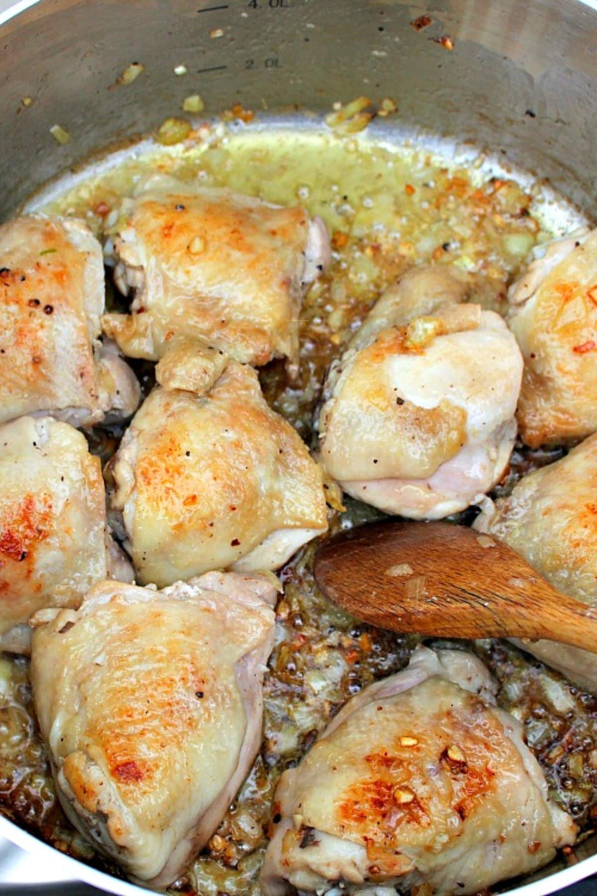 One Pan Garlic Chicken and Rice , browning both sides of chicken