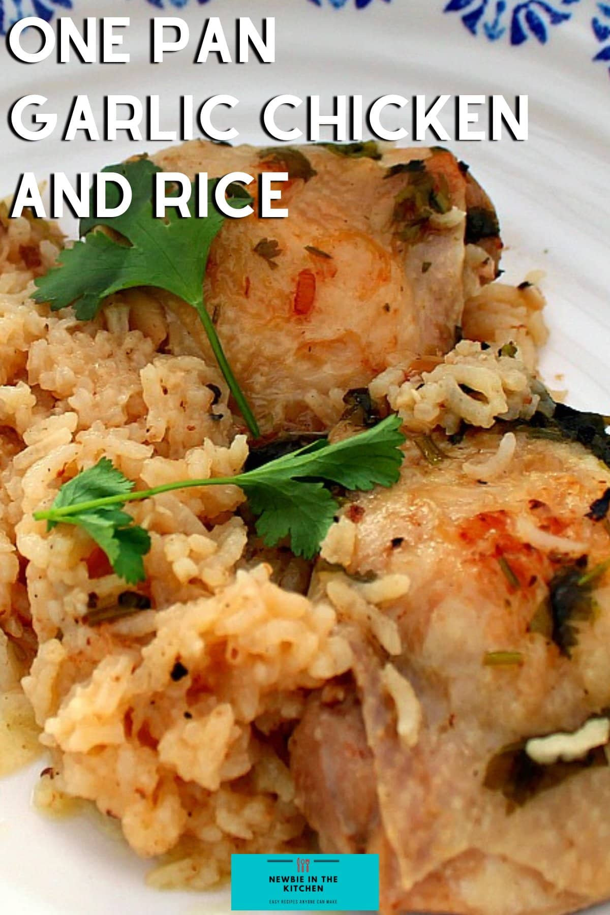 One Pan Garlic Chicken and Rice. An easy dinner recipe with juicy chicken, cooked on the stovetop with flavors of garlic and cilantro