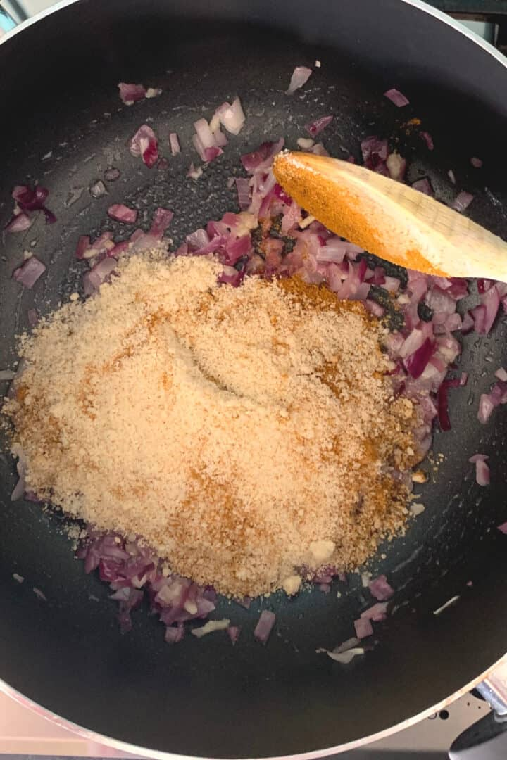 Add the ground almonds and combine