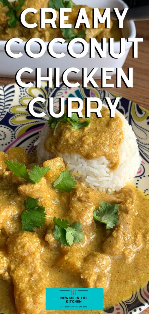 Creamy Coconut Chicken Curry. A delicious mild spiced chicken curry recipe using creamy coconut and ground almonds to give a gentle sweet flavor. Takes under 30 minutes to make, using regular ingredients.
