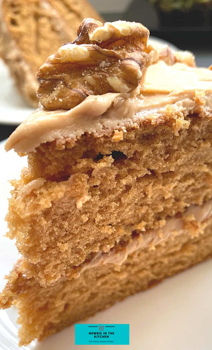 Coffee Walnut Cake is a deliciously easy soft and fluffy cake recipe. Recipe also for a lovely vanilla coffee frosting. A nice cake for the holidays!