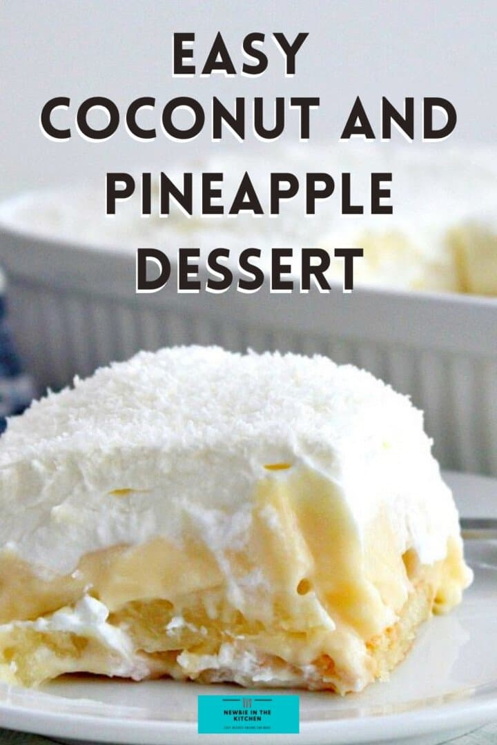 Easy Coconut and Pineapple Dessert. Layers of creamy homemade coconut pudding between pineapple on a bed of pineapple-infused lady's fingers and covered with a delicious whipped cream topping